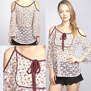 c607892a33c Umgee Top Size S M L Wine Lace Bell Sleeve Cold Shoulder Boho Womens ...