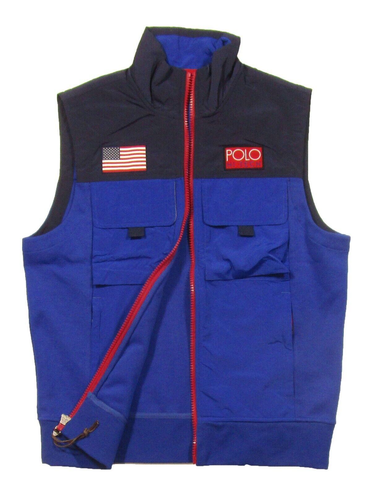 Polo Ralph Lauren Men's Navy bluee Hi Tech Mixed Media Full Zip Vest