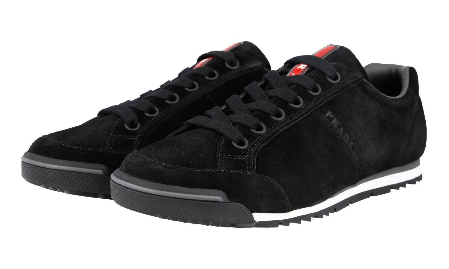 AUTH LUXURY PRADA SNEAKERS SHOES 4E3230 BLACK SUEDE NEW 7,5 41,5 42