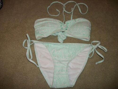 Xhilaration String Bikini  Size  S   Green//White  NWOT  DRASTICALLY REDUCED!!!!!