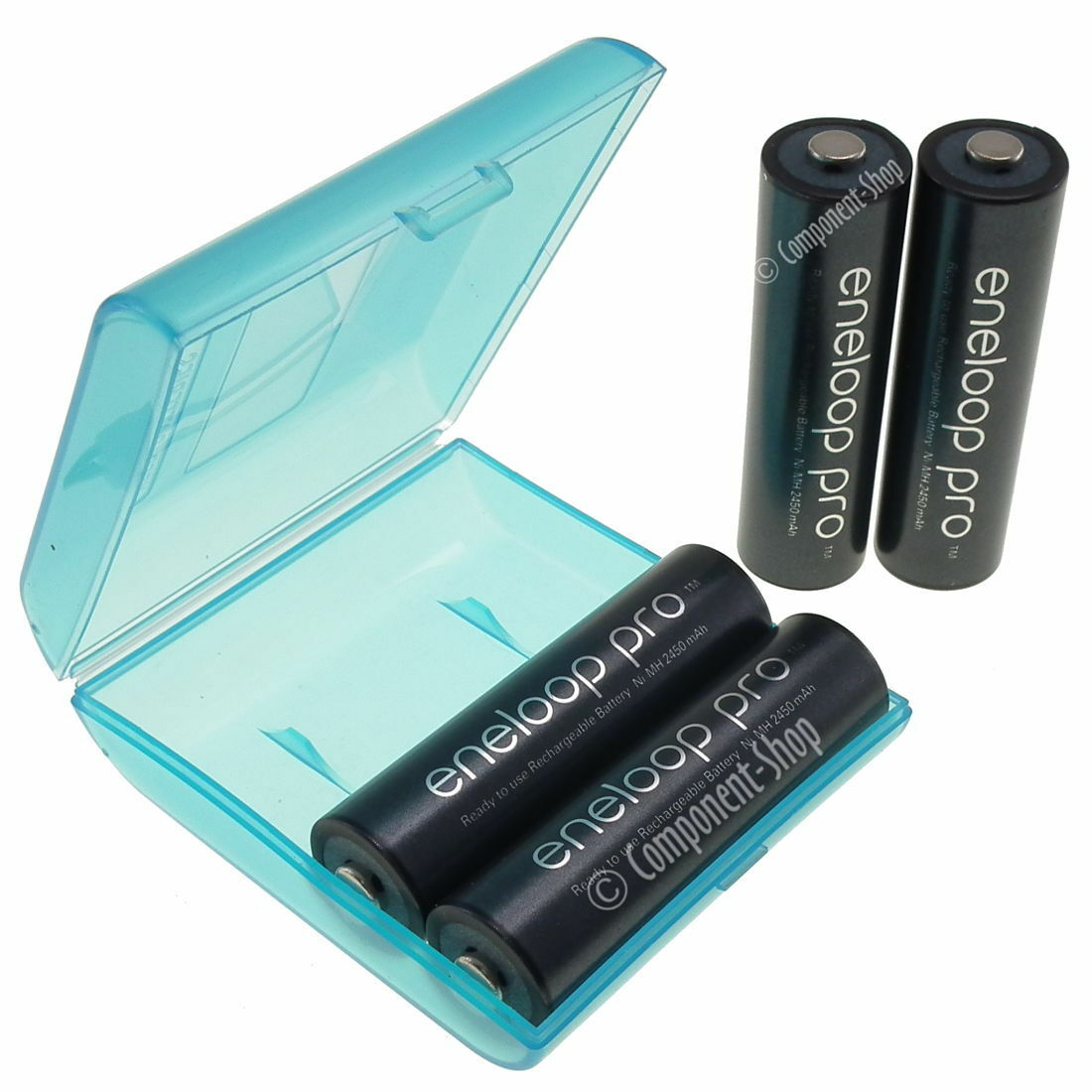 4 x panasonic eneloop pro aa 2550mah nimh rechargeable battery + battery case