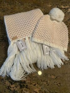 Cole Haan Chess Board Tuck Stitch Muffler And Slouchy Beanie NWT