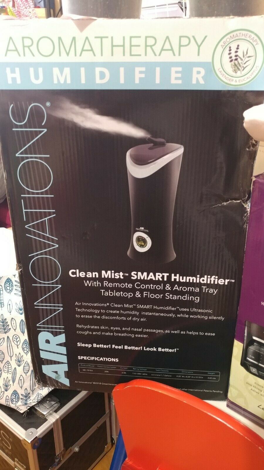 Air Innovations Aromatherapy Clean Mist Smart Ultrasonic Humidifier, Black MH 701B BLK