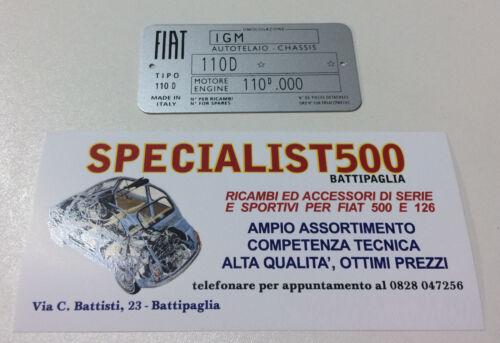 TARGHETTA DATI TARGHETTA DATI FIAT 500 EPOCA  D