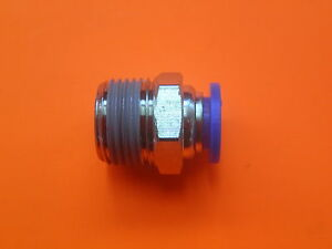 """PUSH IN METRIC TUBE CONNECTOR 8MM OUTSIDE DIAMETER TO 1/8""""BSPT MALE NZ-QFM3-0802"""