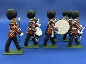 54mm-Metal-Toy-Soldier-Scots-Guard-Marching-Drum-Corp-10-Piece-Set-LMS45