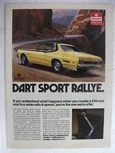 Original vintage magazine advertisement 1974 Dodge Dart Sport Rallye