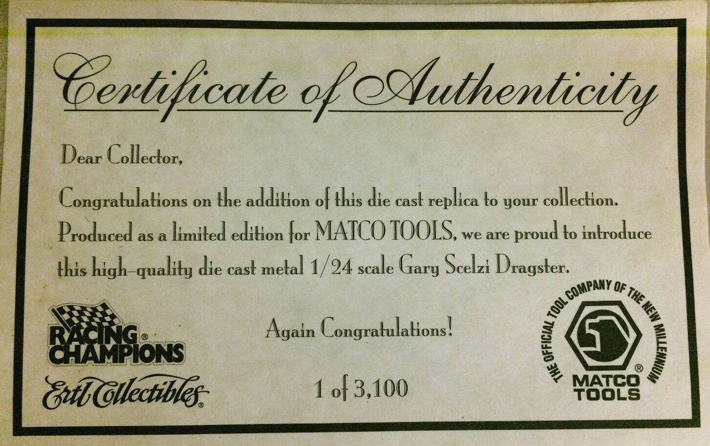 Gary Scelzi Matco Tools Top Top Top Fuel Dragster 2000 Collectors Series Limited bf277c