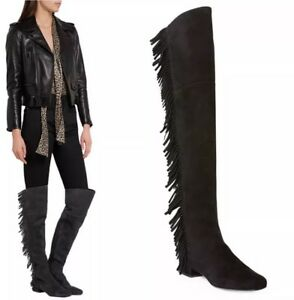 e19ce9787381 Saint Laurent Suede Over The Knee Fringed Boho Boots Sizes 37 & 38 ...
