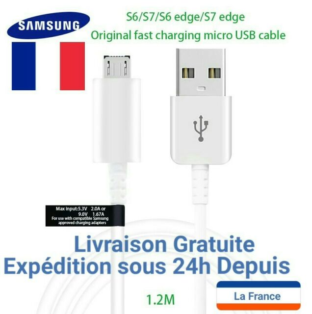 CÂBLE USB / MICRO USB ECB-DU4EWE BLANC ORIGINAL SAMSUNG 1.2m
