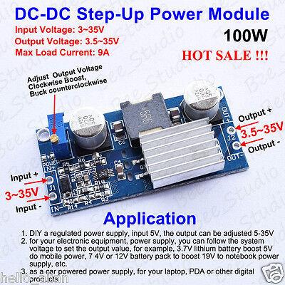 100W DC-DC Boost Step Up Converter 3-35V to 5-35V 12V 24V 9A Power Supply Module