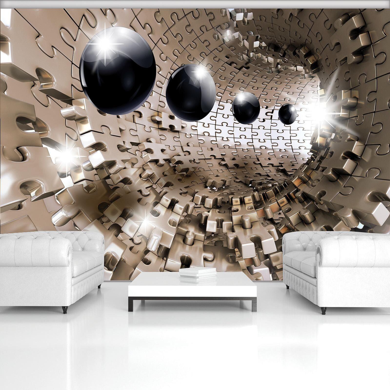 Vließ Fototapete Tapete Wandbild Photo Wallpaper Mural 3D Puzzle Tunnel mit Schw
