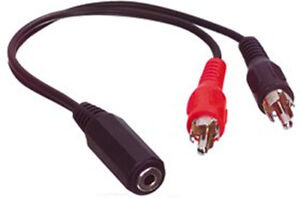0-2m-Metre-3-5mm-Female-Stereo-Socket-to-2x-Male-RCA-Phono-Plugs-Cable-Adapter