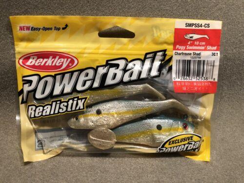 "Berkley Power Bait 4"" Poggy Swimmin Shad Chartreuse Shad Fishing Bait"