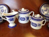 Copeland Spodes Blue Fitzhugh 11pc. Teaset, teapot, sugar, creamer, 4 C&S