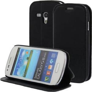 Cuir-Etui-Telephone-Pour-Samsung-Galaxy-S3-Mini-i8190-Noir-Livre-Coque-Etui