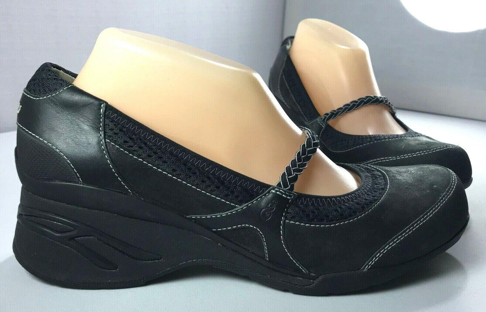 Ahnu Olivia Womens Mary Jane Shoes Black Leather Wedge Size 10