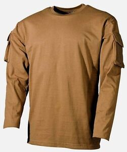 US ARMY MILITARY LONG SLEEVE T-SHIRT COMBAT STYLE SLEEVE POCKETS ... 4b130919a28
