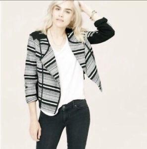 Lou-amp-Grey-Women-Size-L-Black-White-Knit-Moto-Zip-Jacket-Asymmetrical-Zipper