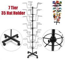 Black 20 Hat Cap Display Rack Floor Stand Shelf 10 Tiers Spinner Rotate Wheels