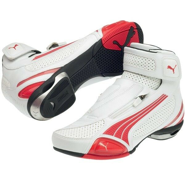 PUMA TESTASTRETTA II MID LOW CUT MOTORCYCLE SHOES BOOTS WHITE RED SIZE US 8 9 10