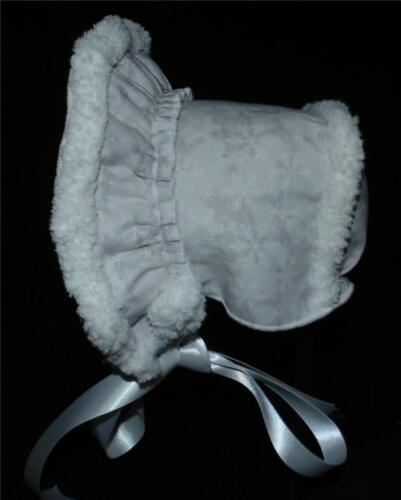 New Handmade White Snowflakes Sherpa Lined Baby Bonnet