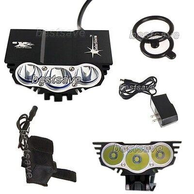 SolarStorm 3x Bulb XM-L U2 LED Bike Bicycle HeadLamp Light Lamp+4x18650 BK B0194