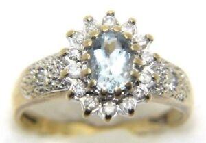 Women-039-s-Ladies-9carat-9ct-Yellow-Gold-Aquamarine-amp-Diamond-ring-UK-Size-N-1-2