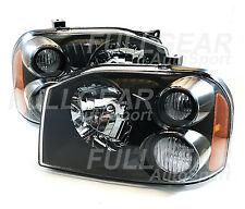 BLACK w/ EURO CLEAR LENS HEADLIGHT PAIR SET FOR NISSAN FRONTIER 2001-2004