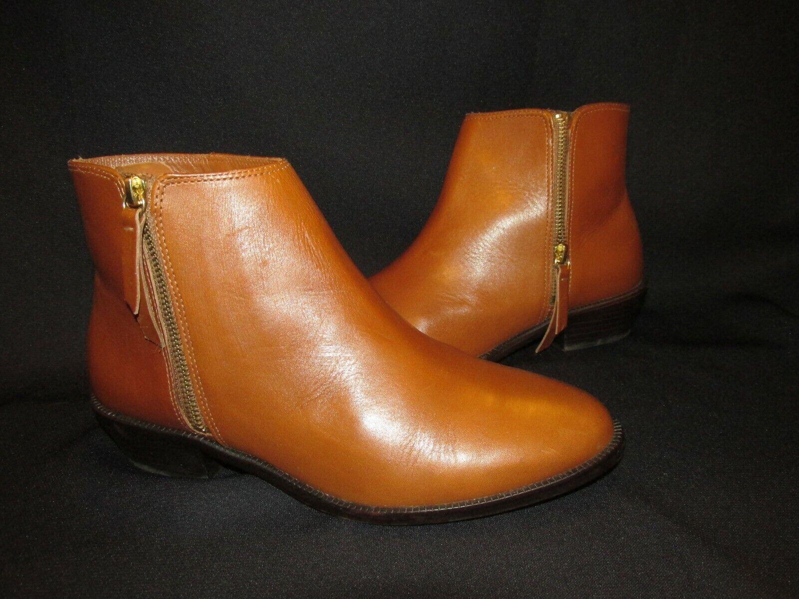 J. Crew Frankie E0537 Brown Leather Ankle Boot Zip Side 1-3 8  Heel  Women's 9M
