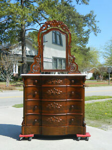 Image Is Loading Mahogany Empire Chest Dresser With Mirror Circa 1850