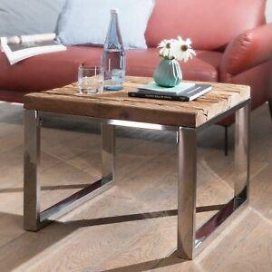 Details Sur Finebuy Table Basse Bois Massif Metal 60x47x60cm Table D Appoint Table De Salon