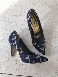 Ted-Baker-Uk3-36-Stilettos-Heels-Court-Sandals-Pointed-Blue-Check