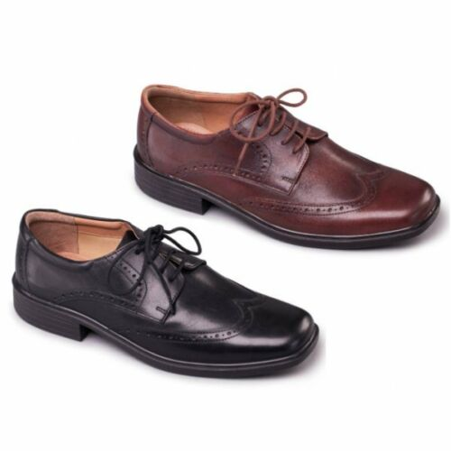 Padders RILEY Mens Leather Lace-Up Wide Fit Comfort Smart Casual Brogue Shoes