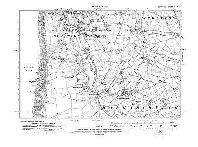 OLD ORDNANCE SURVEY MAP HOLSWORTHY UPPER TAMAR 1894 MARHAMCHURCH HIGHAMPTON