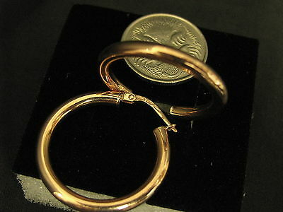 STUNNING NEW 9CT ROSE GOLD HOOP EARRINGS (2.5 gms) # 41584