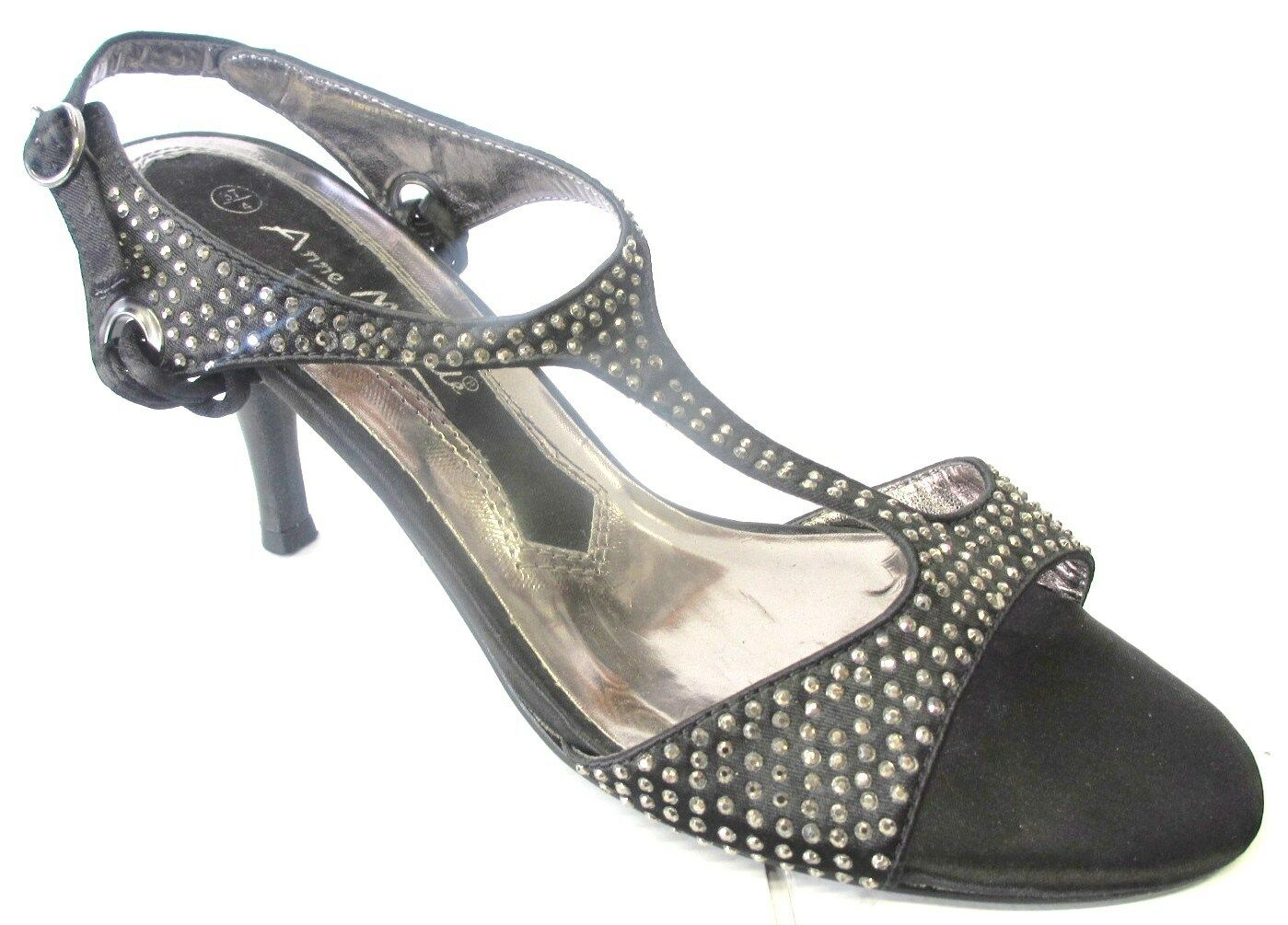 LADIES ANNE WITH MICHELLE MID HEEL SANDAL WITH ANNE DIAMANTE DETAIL L3303 BLACK MAN MADE 548509