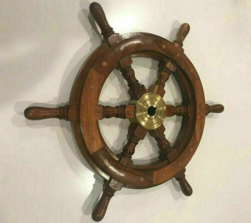 """Collectible Marine Nautical Boat Wooden Ship Wheel 18/""""inch Steering Wall Decor"""