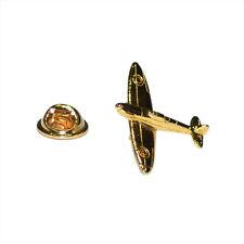 Golden Spitfire LAPEL PIN World War Pilot Veteran Hat Cap Badge Birthday Present