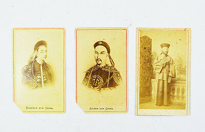 LOT 3 OF CHINESE QING EMPEROR CDV CARD AND EUROPEAN NOBLE MAN IN CHINESE DRESS