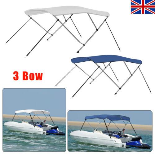 Premium 3 Bow Boat Bimini Top Canopy Fits 140cm-196cm Wide White//Blue NEW