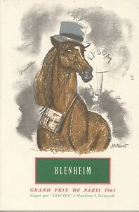 Menu / Illustrateur Jacquot / Grand Prix De Paris 1963 / Cheval / Blenheim Qgnpbm1l-07222357-674206974