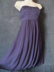 ff2e9c6b8a610 David's Bridal Dark Plum Purple Strapless Satin Chiffon Beaded ...