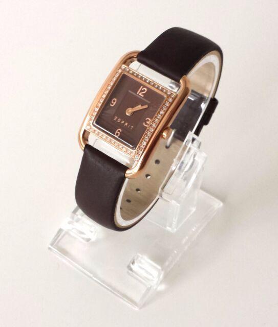 Esprit Damen Uhr Ione braun Leder Steine ES106612003