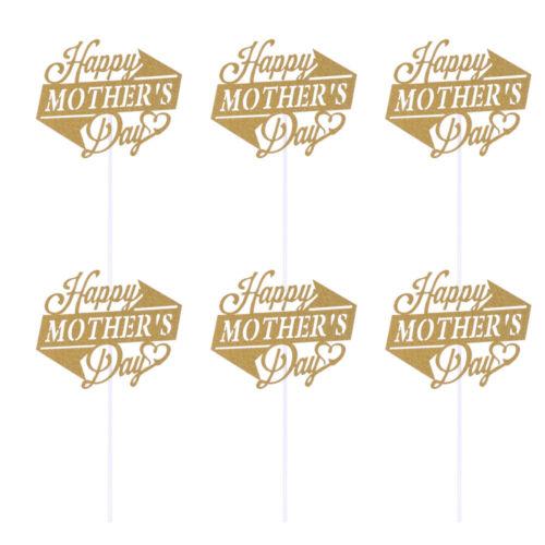 10pcs Happy Mother/'s Day Cake Toppers Golden Glitter Cupcake Picks Cake Decor