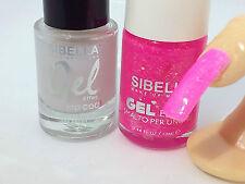 Gel Smalto Unghie Fluo Fucsia Glitter + Top Coat Semipermanente No UV