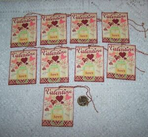 9~Valentines Day~Primitive~Heart~FussyCut~Linen Cardstock~Gift~Hang~Tags