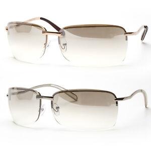 Gold Coloured Glasses Frames : NEW MENS RECTANGULAR RIMLESS TRANSPARENT SUNGLASSES ...