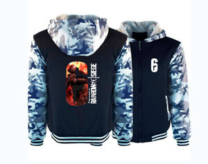 Rainbow Six Siege Camoflauge Hoodie Zip up Jacket CoatWinter Warm Blue