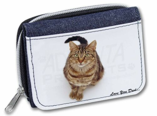 Brown Tabby Cat 'Love You Dad' GirlsLadies Denim Purse Wallet Christ, DAD158JW